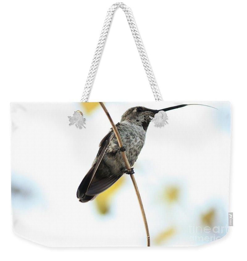 Hummingbird Weekender Tote Bag featuring the photograph Hummingbird Tongue by Carol Groenen