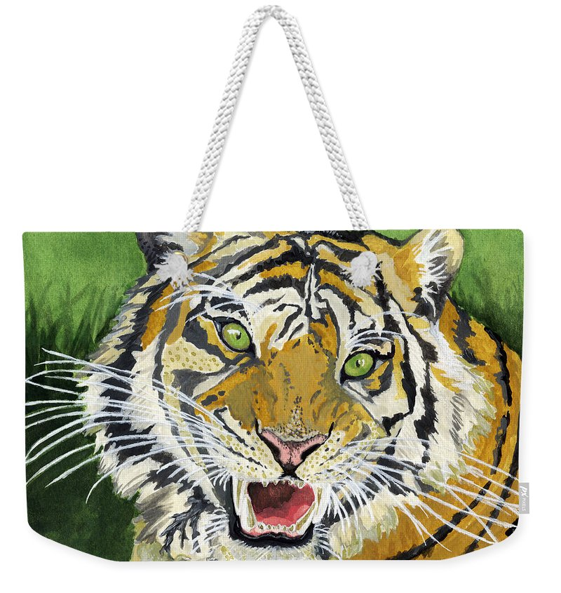Tiger Weekender Tote Bag featuring the painting Hungry Tiger by Alban Dizdari