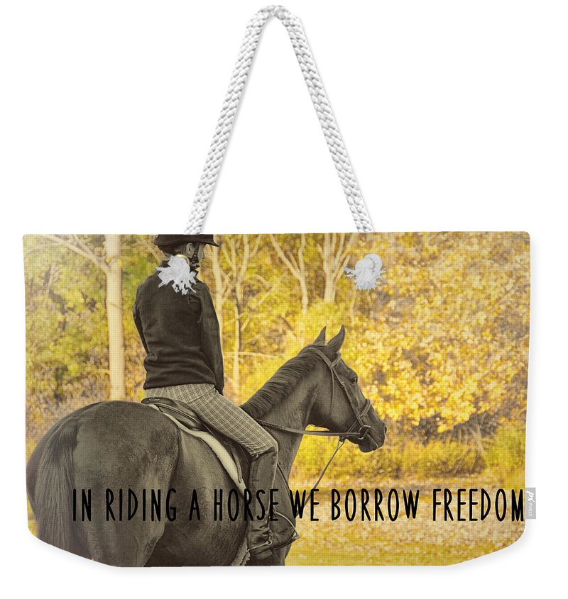 Horse Weekender Tote Bag featuring the photograph Hunter Art Quote by JAMART Photography