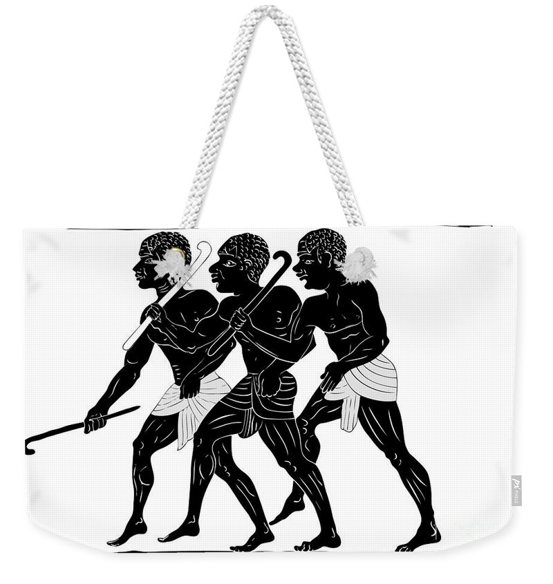 Ancient Weekender Tote Bag featuring the digital art Hunters by Michal Boubin