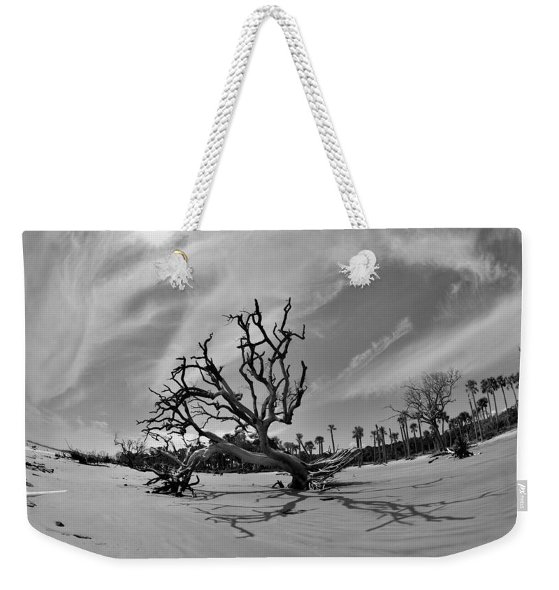 Hunting Island Beach And Driftwood Weekender Tote Bag featuring the photograph Hunting Island Beach And Driftwood Black And White by Lisa Wooten
