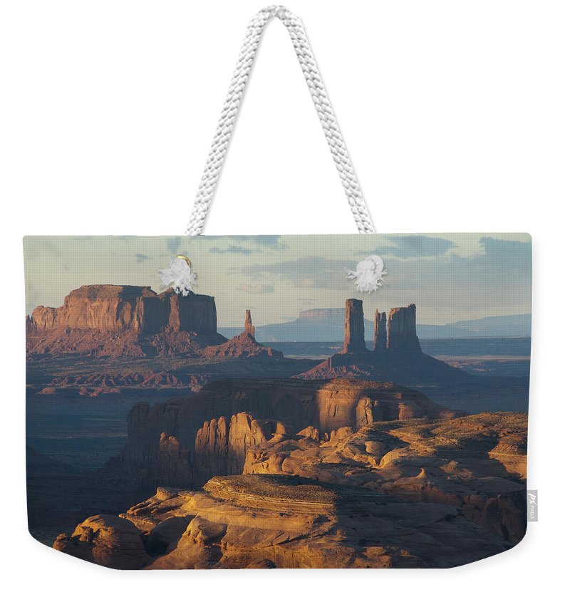 Monument Weekender Tote Bag featuring the photograph Hunt's Mesa View 7602 by Bob Neiman