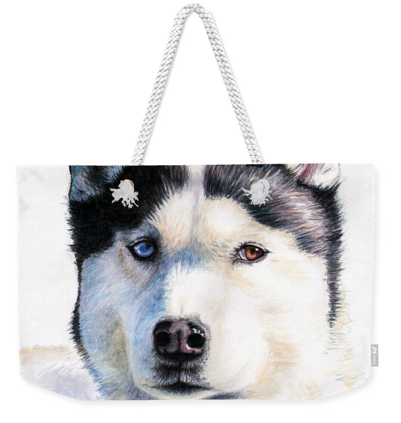 Dog Weekender Tote Bag featuring the painting Husky Blue by Nicole Zeug