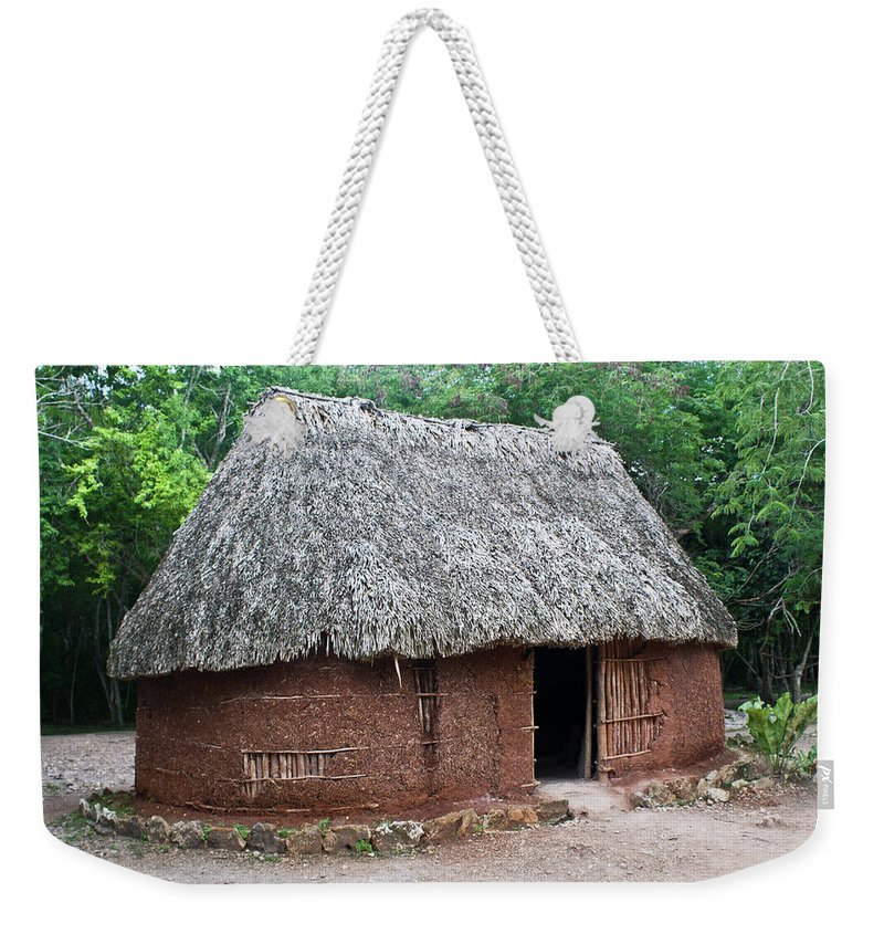 Hut Weekender Tote Bag featuring the photograph Hut Yucatan Mexico by Douglas Barnett