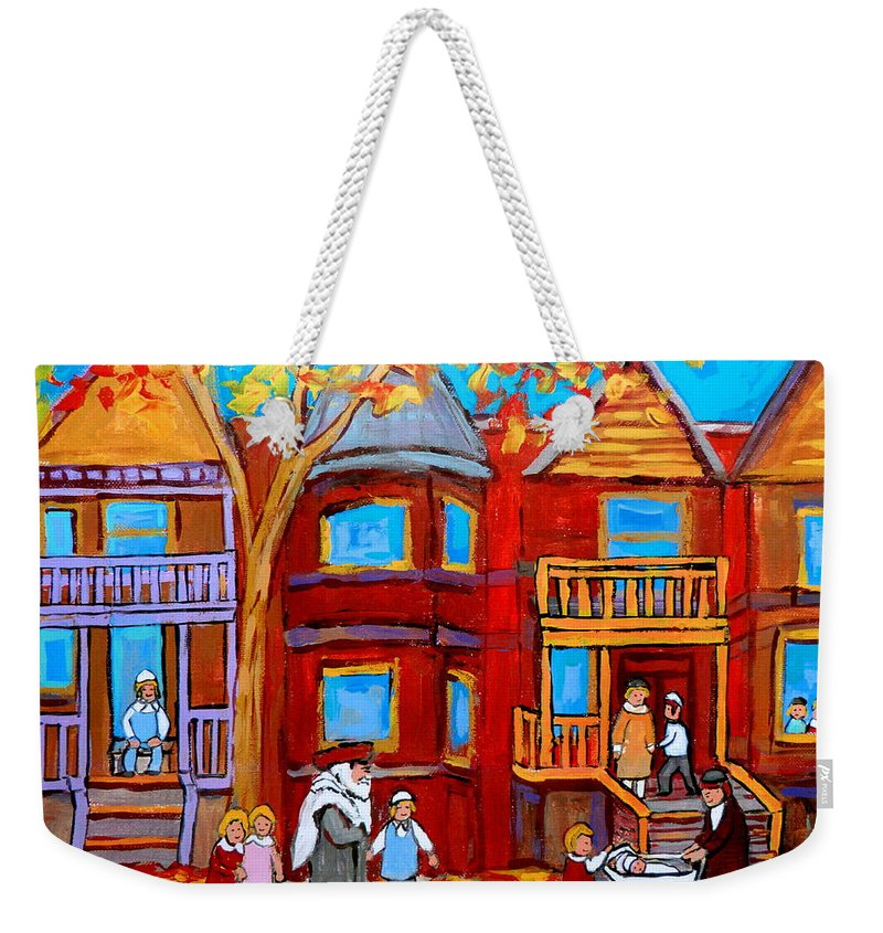 Hutchison Street Sabbath In Montreal Weekender Tote Bag featuring the painting Hutchison Street Sabbath In Montreal by Carole Spandau