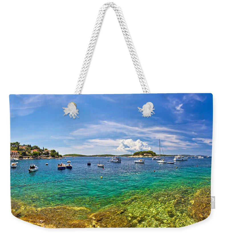 Hvar Weekender Tote Bag featuring the photograph Hvar Yachting Beach Panoramic View by Brch Photography