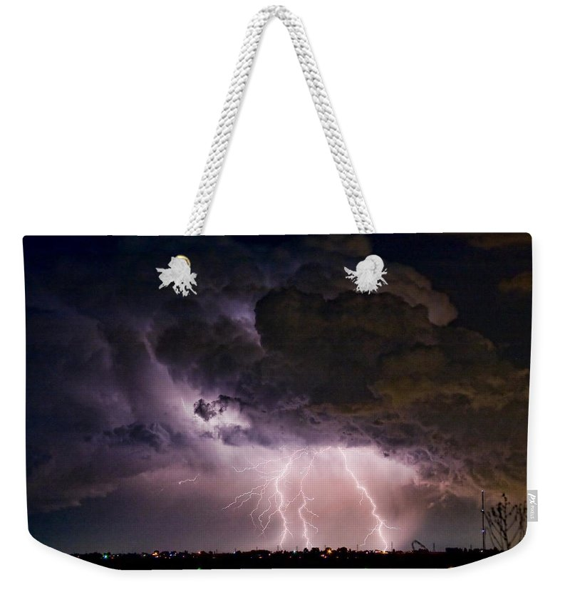 Lightning Weekender Tote Bag featuring the photograph Hwy 52 - Hwy 287 Lightning Storm Image 29 by James BO Insogna