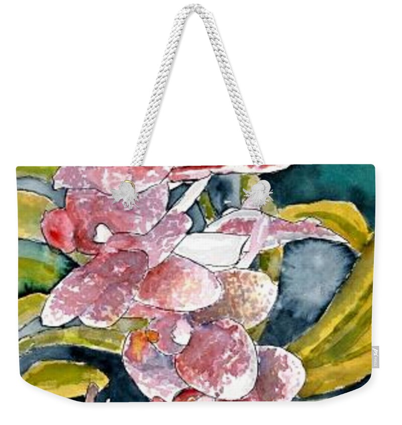 Orchid Weekender Tote Bag featuring the painting Hybrid Orchids Orchid Flowers by Derek Mccrea