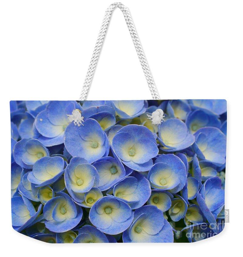 Flora Weekender Tote Bag featuring the photograph Hydrangea Closeup by Gaspar Avila