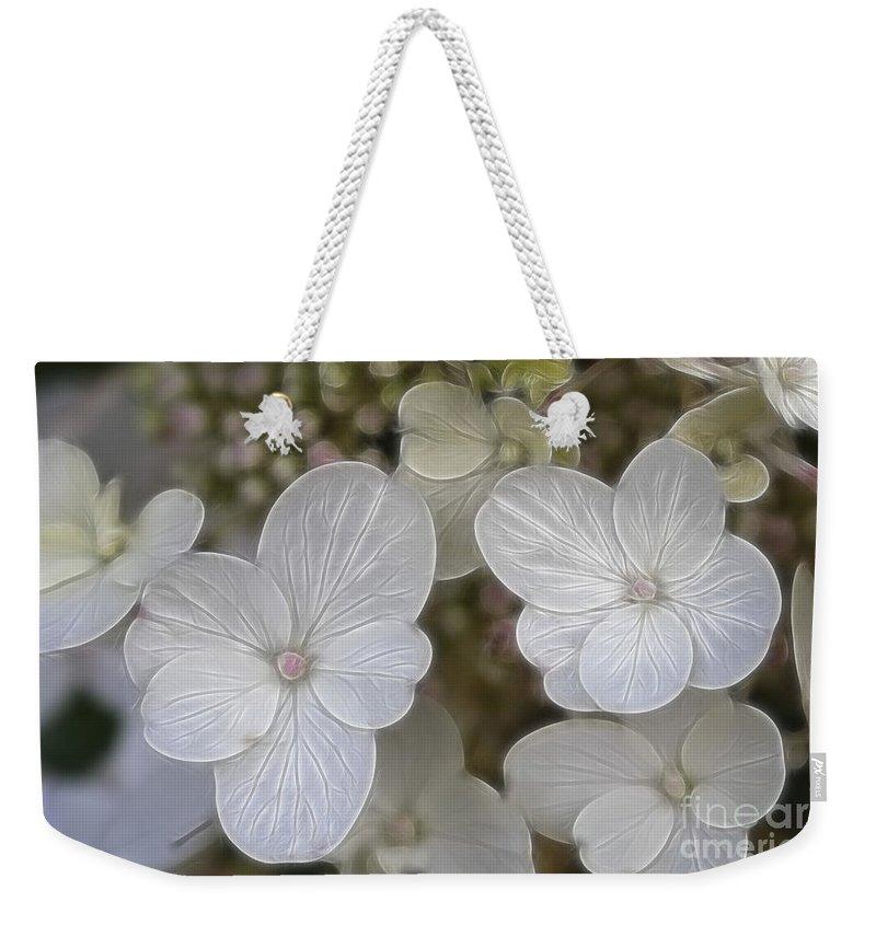 Flowers Weekender Tote Bag featuring the mixed media Hydrangea Fractalius by Deborah Benoit