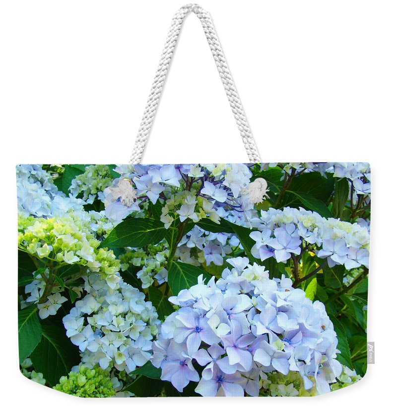 Landscape Weekender Tote Bag featuring the photograph Hydrangea Garden Landscape Flower art prints Baslee Troutman by Patti Baslee
