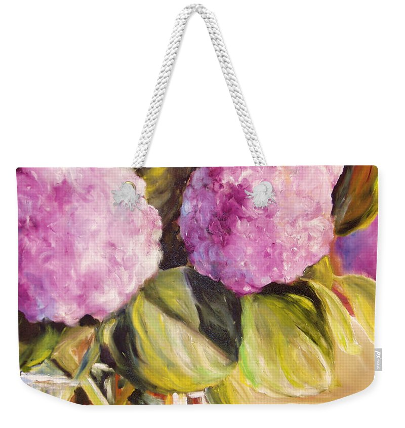 Hydrangea Weekender Tote Bag featuring the painting Hydrangea Heaven by Toni Grote