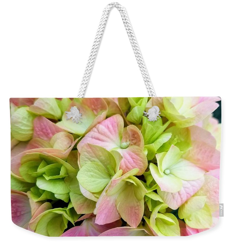 Pink Weekender Tote Bag featuring the photograph Hydrangea by Marla McFall