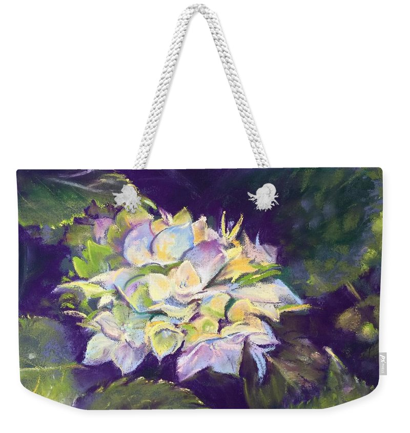 Hydrangea Painting Weekender Tote Bag featuring the pastel Hydrangea by Rebecca Matthews