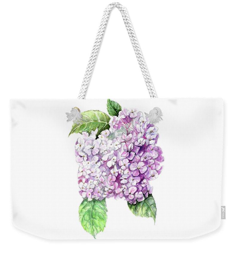 Hydrangea Weekender Tote Bag featuring the painting Hydrangea by Yana Sadykova