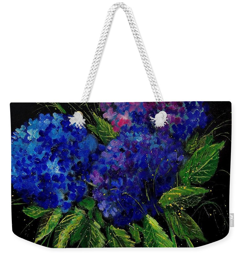 Flowers Weekender Tote Bag featuring the painting Hydrangeas 66 by Pol Ledent