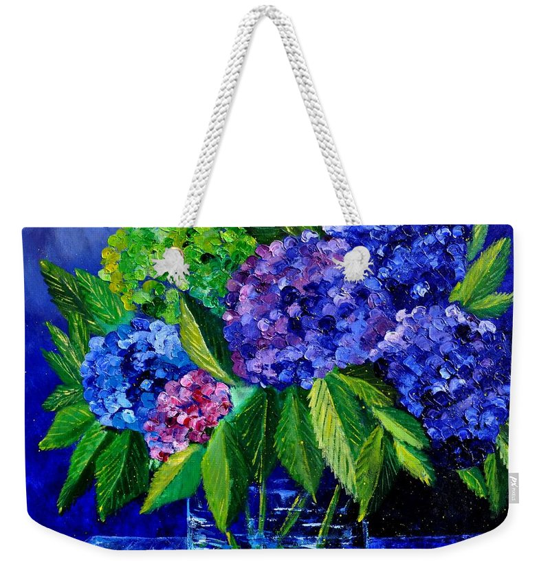 Flowers Weekender Tote Bag featuring the painting Hydrangeas 88 by Pol Ledent