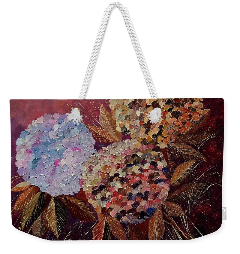 Flowers Weekender Tote Bag featuring the painting Hydrangeas 880130 by Pol Ledent