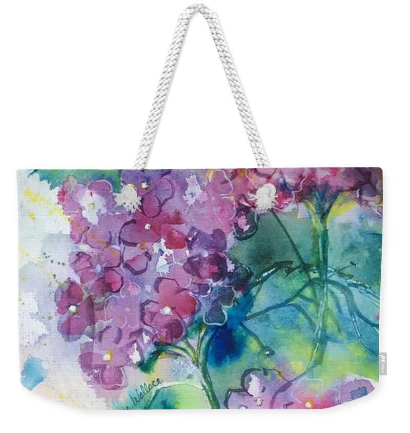 Hydrangea Weekender Tote Bag featuring the painting Hydrangeas by Diane Wallace