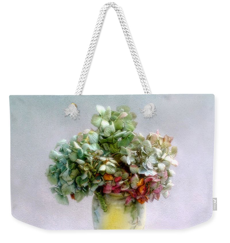 Hydrangea Weekender Tote Bag featuring the photograph Hydrangeas In Autumn Still Life by Louise Kumpf