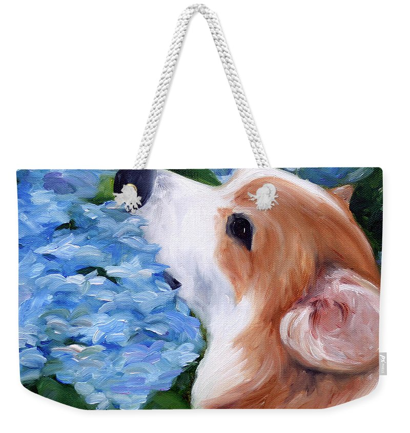 Art Weekender Tote Bag featuring the painting Hydrangeas by Mary Sparrow