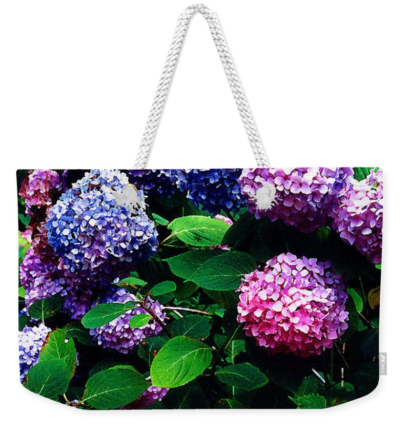 Flowers Weekender Tote Bag featuring the photograph Hydrangeas by Nancy Mueller