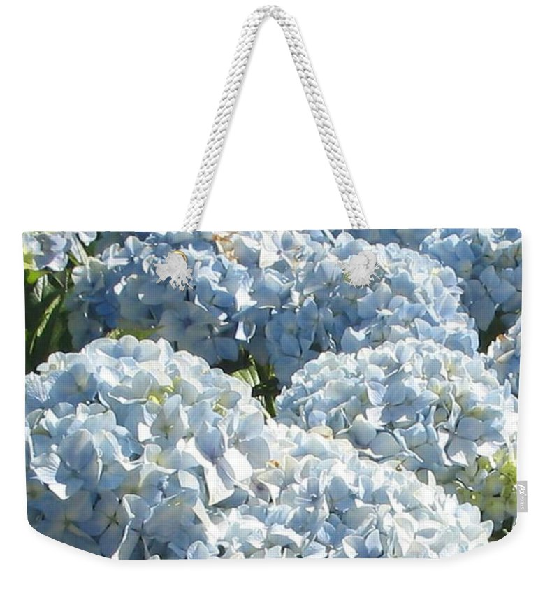 Blue Hydrangea Weekender Tote Bag featuring the photograph Hydrangeas by Valerie Josi