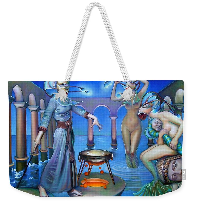 Mermaid Weekender Tote Bag featuring the painting Hydromeda's Kitchen by Patrick Anthony Pierson
