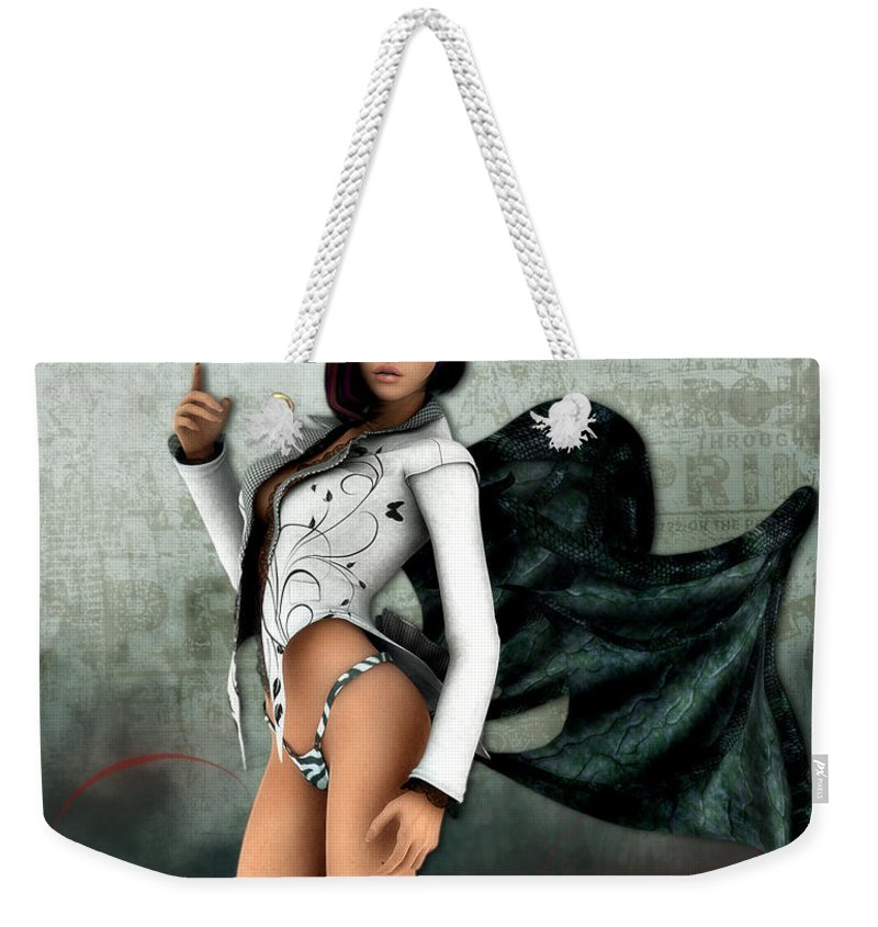 3d Weekender Tote Bag featuring the digital art I Am Not A Bunny by Jutta Maria Pusl