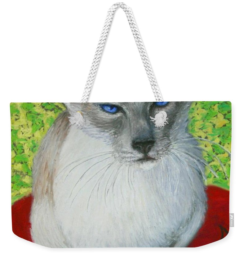 Siamese Weekender Tote Bag featuring the painting I Am Siamese If You Please by Minaz Jantz