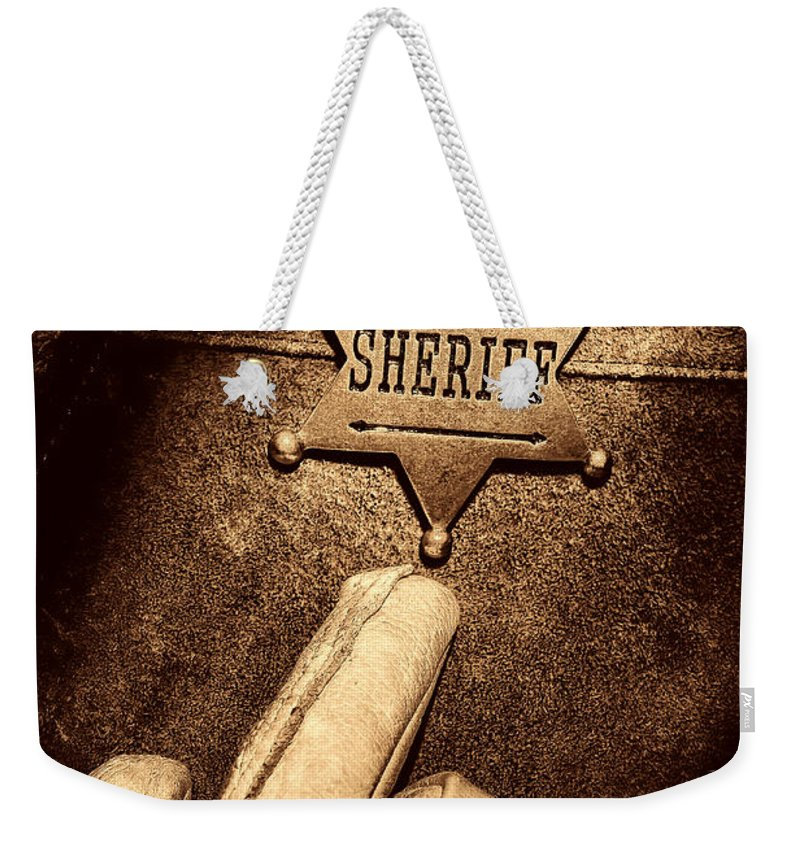 Sheriff Weekender Tote Bag featuring the photograph I Am The Law by American West Legend By Olivier Le Queinec