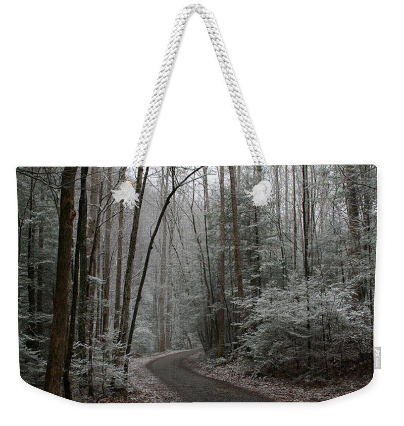 Nature Road Country Woods Forest Tree Trees Snow Winter Peaceful Quite Path White Forest Drive Weekender Tote Bag featuring the photograph I Am The Way by Andrei Shliakhau