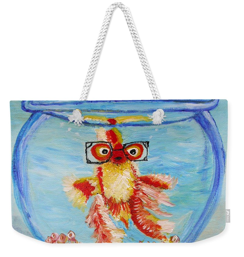 Nerdy Goldfish With Glasses In Fishbowl Weekender Tote Bag featuring the painting I Am Watching You by Cheryl Emtman