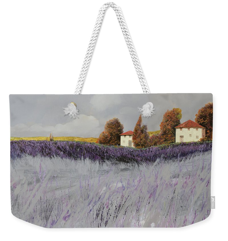 Lavender Weekender Tote Bag featuring the painting I Campi Di Lavanda by Guido Borelli