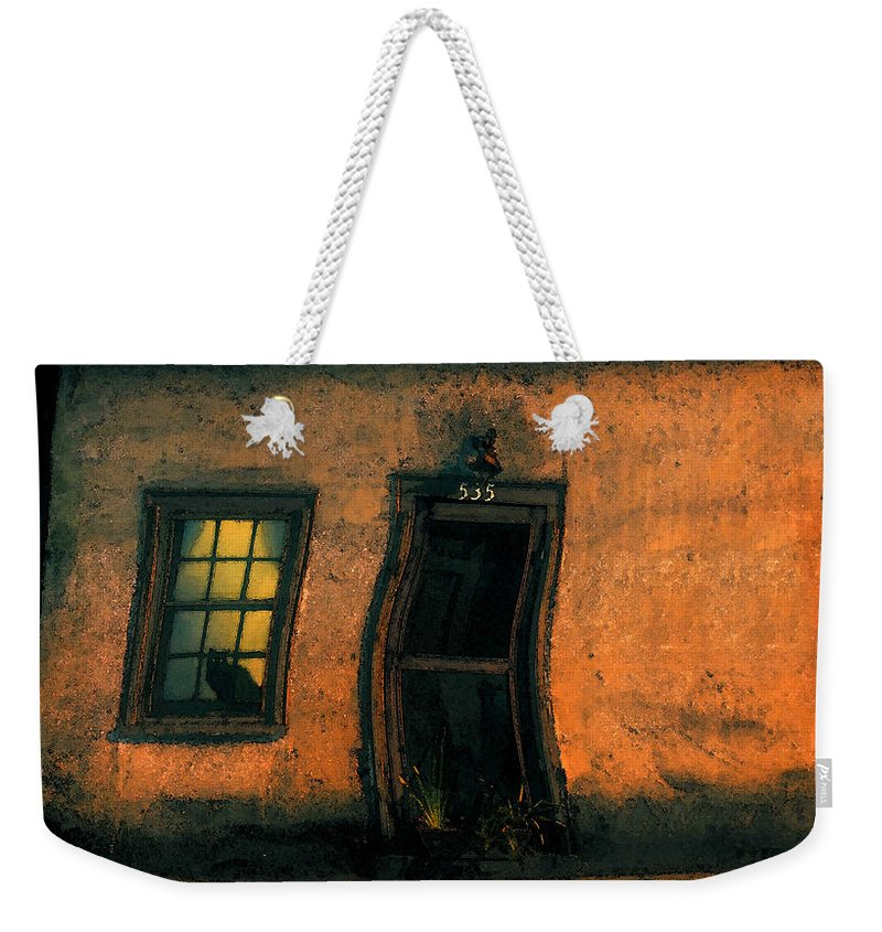 Cat Weekender Tote Bag featuring the painting I Dreamed A Black Cat by David Lee Thompson
