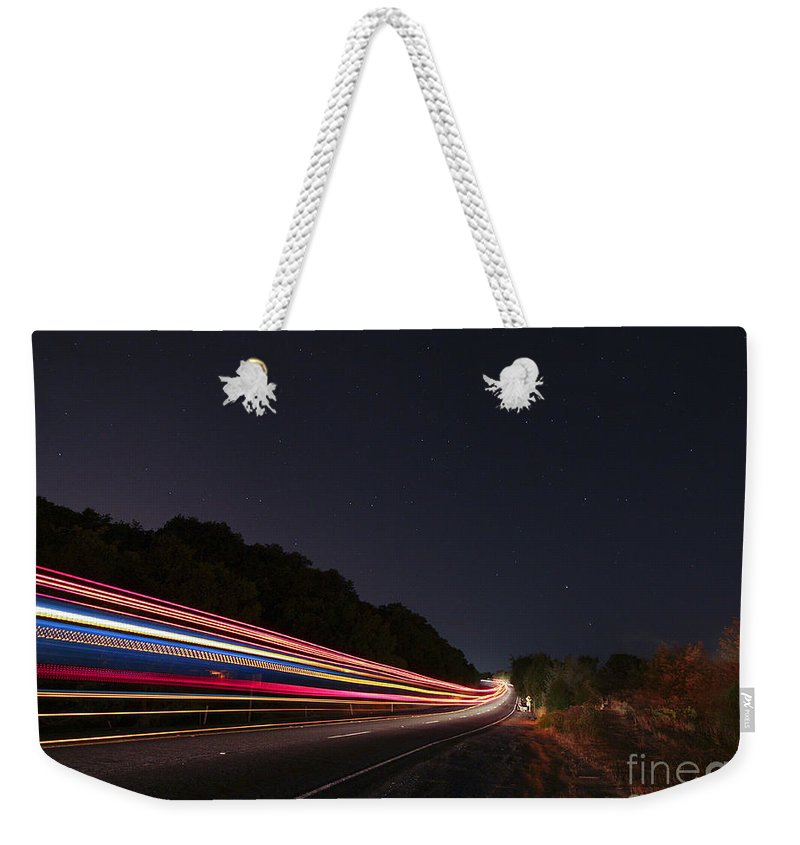 Night Weekender Tote Bag featuring the photograph I Drove All Night II by Jennifer Ramirez