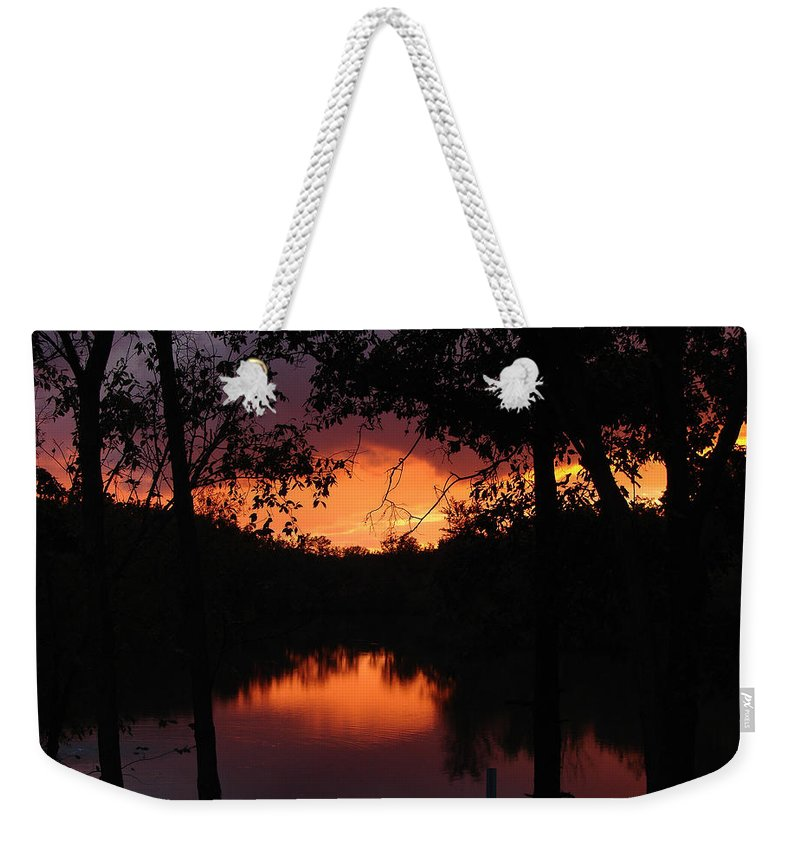 Sunset Weekender Tote Bag featuring the photograph I Found Red October by J R Seymour