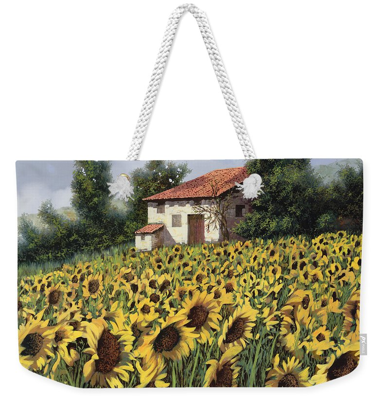 Tuscany Weekender Tote Bag featuring the painting I Girasoli Nel Campo by Guido Borelli