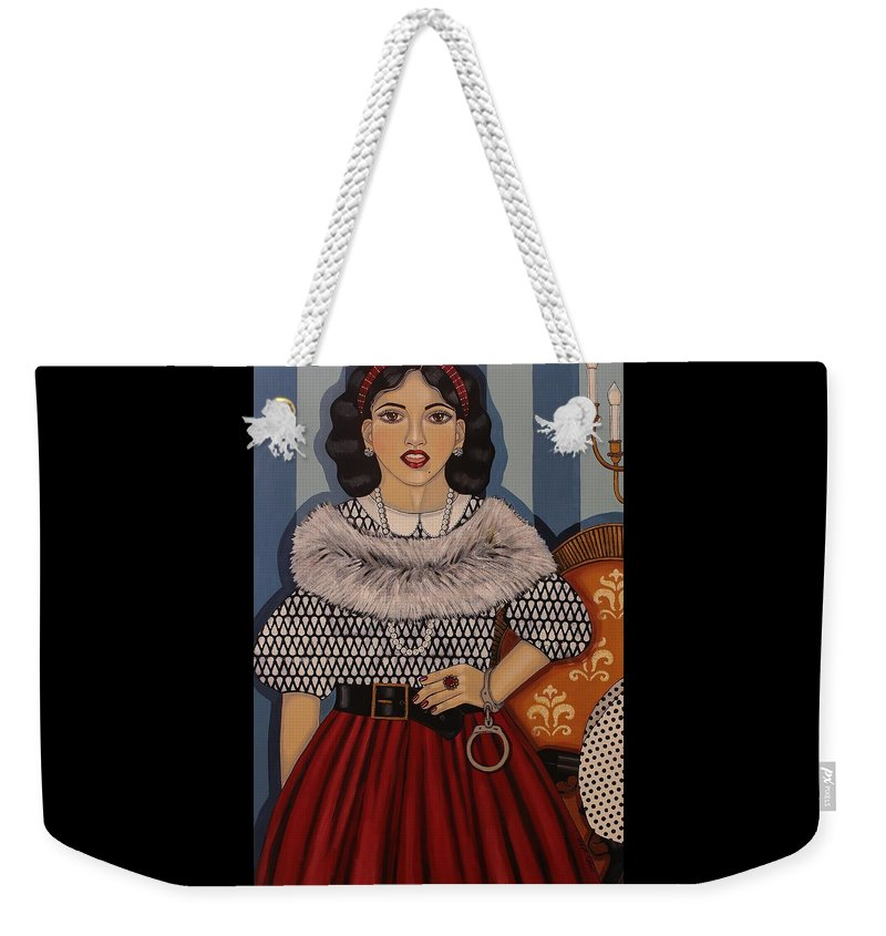 Woman Weekender Tote Bag featuring the painting I Have A Right To Speak by Stephanie Cohen