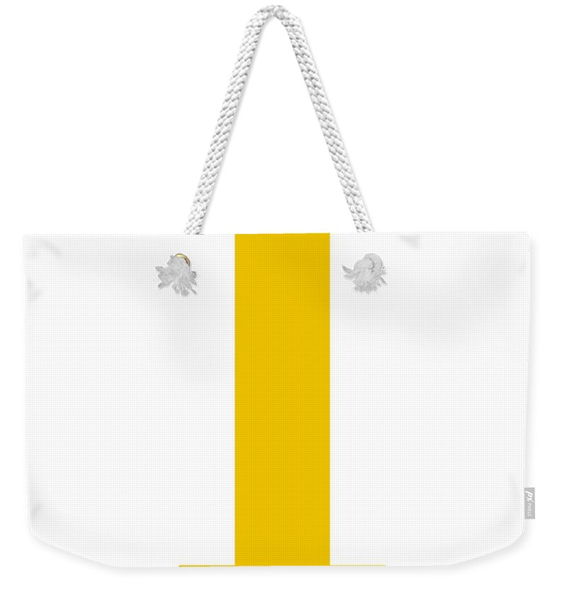 I Weekender Tote Bag featuring the digital art I In Mustard Typewriter Style by Custom Home Fashions