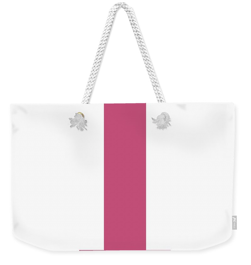I Weekender Tote Bag featuring the digital art I In Pink Typewriter Style by Custom Home Fashions