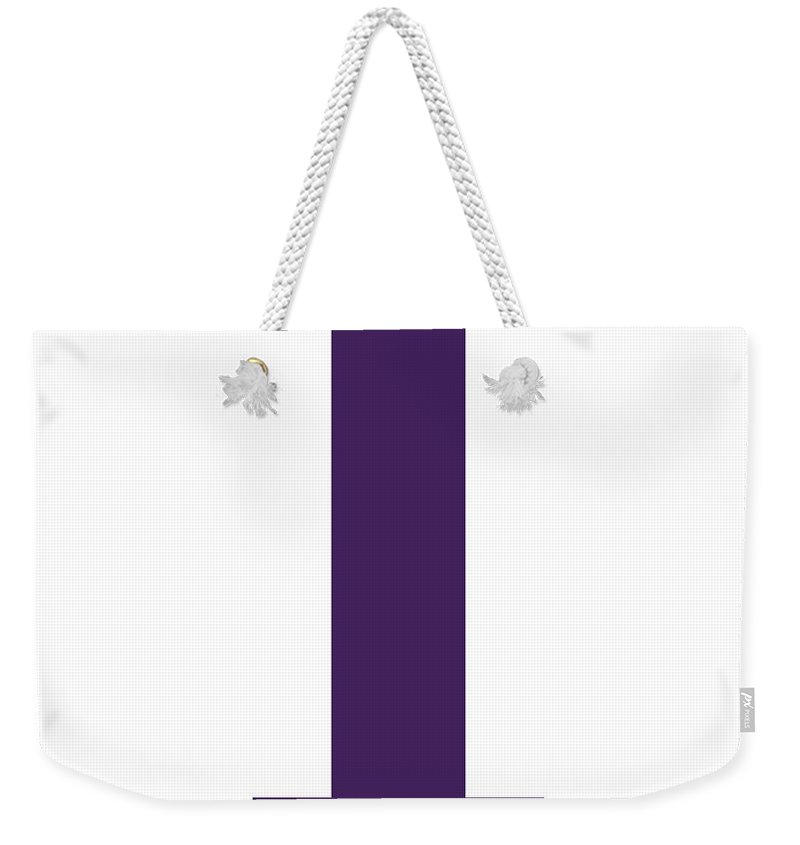 I Weekender Tote Bag featuring the digital art I In Purple Typewriter Style by Custom Home Fashions