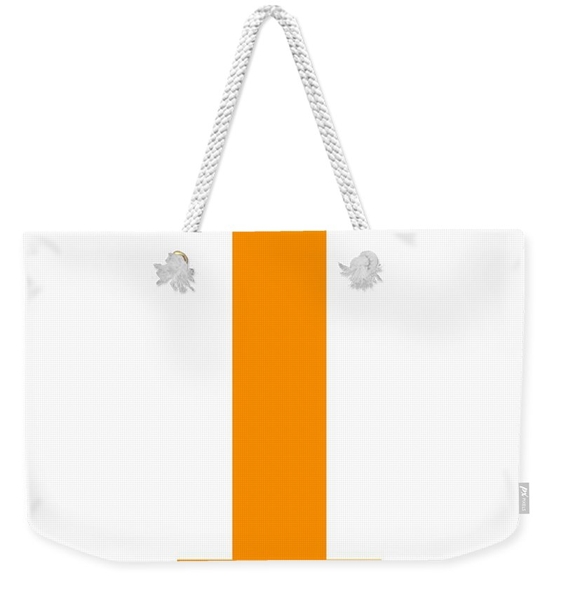 I Weekender Tote Bag featuring the digital art I In Tangerine Typewriter Style by Custom Home Fashions