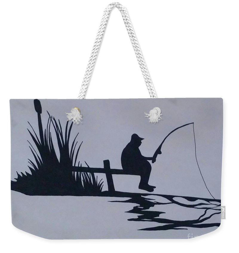 Ink Fish Water Fisherman Weekender Tote Bag featuring the painting I Like To Fish by Barbara Stanley