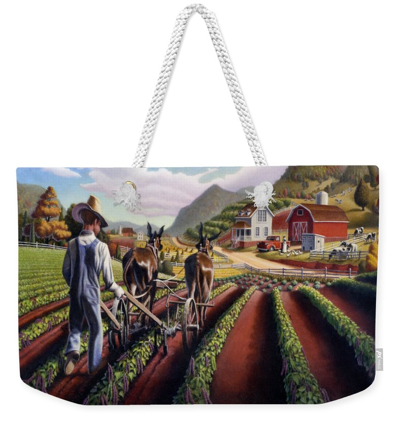 I Love Appalachia Weekender Tote Bag featuring the painting I Love Appalachia - Appalachian Farmer Cultivating Peas - Farm Landscape by Walt Curlee