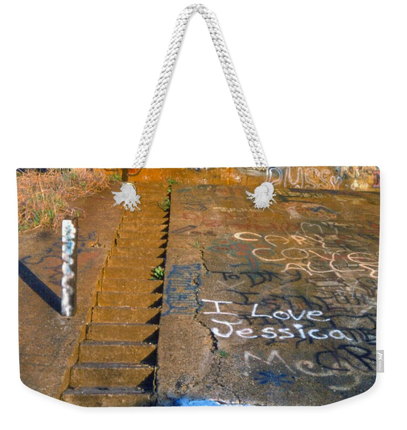 Love Note Weekender Tote Bag featuring the photograph I Love Jessica by D'Arcy Evans