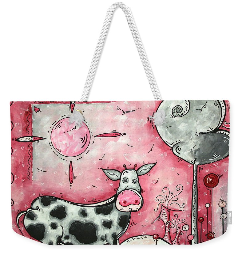 Art Weekender Tote Bag featuring the painting I LOVE MOO Original MADART Painting by Megan Duncanson