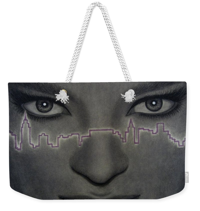 Woman Weekender Tote Bag featuring the painting I Love New York by Lynet McDonald