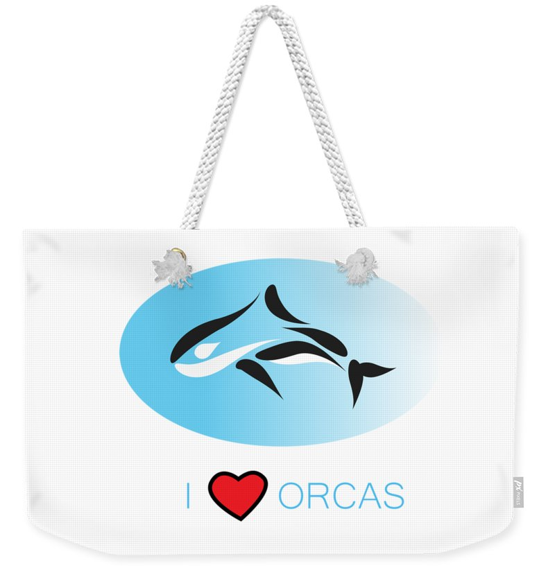 I Love Orcas Weekender Tote Bag featuring the photograph I Love Orcas by K D Graves
