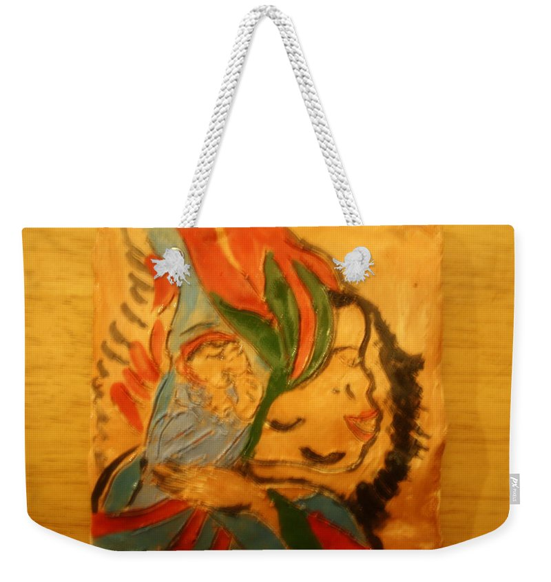 Jesus Weekender Tote Bag featuring the ceramic art I Love You - Tile by Gloria Ssali